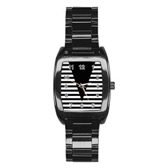 Black & White Stripes Big Triangle Stainless Steel Barrel Watch