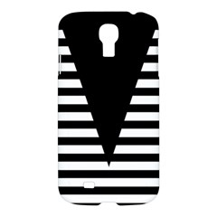 Black & White Stripes Big Triangle Samsung Galaxy S4 I9500/i9505 Hardshell Case by EDDArt