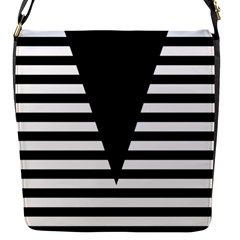 Black & White Stripes Big Triangle Flap Messenger Bag (s) by EDDArt