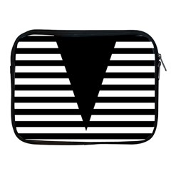 Black & White Stripes Big Triangle Apple Ipad 2/3/4 Zipper Cases by EDDArt