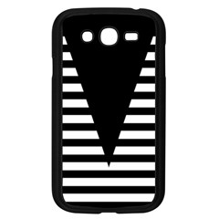 Black & White Stripes Big Triangle Samsung Galaxy Grand Duos I9082 Case (black) by EDDArt