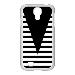 Black & White Stripes Big Triangle Samsung Galaxy S4 I9500/ I9505 Case (white) by EDDArt