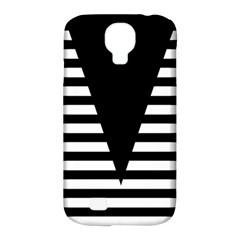 Black & White Stripes Big Triangle Samsung Galaxy S4 Classic Hardshell Case (pc+silicone) by EDDArt