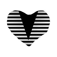 Black & White Stripes Big Triangle Standard 16  Premium Flano Heart Shape Cushions by EDDArt