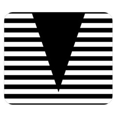 Black & White Stripes Big Triangle Double Sided Flano Blanket (small)  by EDDArt