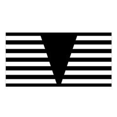Black & White Stripes Big Triangle Satin Shawl by EDDArt
