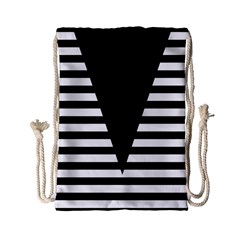 Black & White Stripes Big Triangle Drawstring Bag (small) by EDDArt