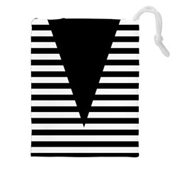 Black & White Stripes Big Triangle Drawstring Pouches (xxl) by EDDArt