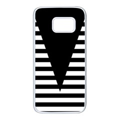 Black & White Stripes Big Triangle Samsung Galaxy S7 White Seamless Case by EDDArt