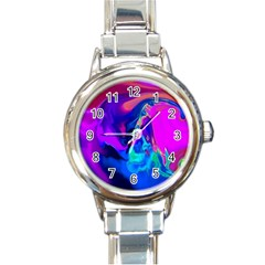 The Perfect Wave Pink Blue Red Cyan Round Italian Charm Watch by EDDArt