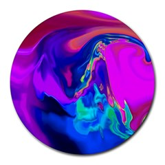 The Perfect Wave Pink Blue Red Cyan Round Mousepads by EDDArt