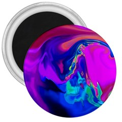 The Perfect Wave Pink Blue Red Cyan 3  Magnets by EDDArt