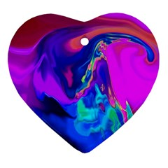 The Perfect Wave Pink Blue Red Cyan Ornament (heart)  by EDDArt