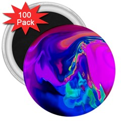 The Perfect Wave Pink Blue Red Cyan 3  Magnets (100 Pack) by EDDArt