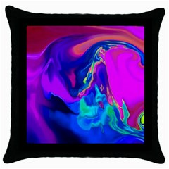 The Perfect Wave Pink Blue Red Cyan Throw Pillow Case (black) by EDDArt