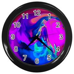 The Perfect Wave Pink Blue Red Cyan Wall Clocks (black) by EDDArt