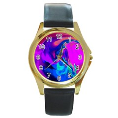 The Perfect Wave Pink Blue Red Cyan Round Gold Metal Watch by EDDArt