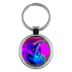 The Perfect Wave Pink Blue Red Cyan Key Chains (round)  by EDDArt