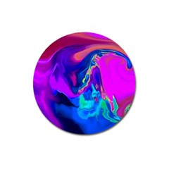 The Perfect Wave Pink Blue Red Cyan Magnet 3  (round) by EDDArt