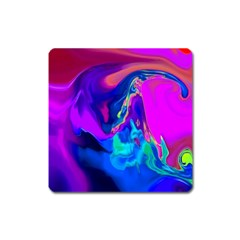 The Perfect Wave Pink Blue Red Cyan Square Magnet by EDDArt