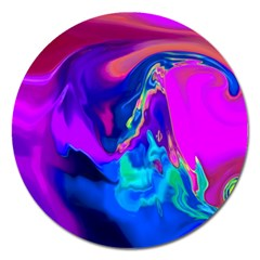 The Perfect Wave Pink Blue Red Cyan Magnet 5  (round) by EDDArt
