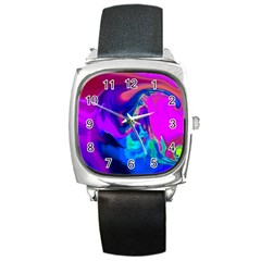 The Perfect Wave Pink Blue Red Cyan Square Metal Watch by EDDArt