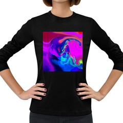 The Perfect Wave Pink Blue Red Cyan Women s Long Sleeve Dark T Shirts by EDDArt