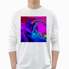 The Perfect Wave Pink Blue Red Cyan White Long Sleeve T Shirts by EDDArt