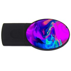 The Perfect Wave Pink Blue Red Cyan Usb Flash Drive Oval (4 Gb)  by EDDArt