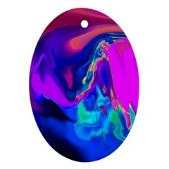 The Perfect Wave Pink Blue Red Cyan Oval Ornament (two Sides) by EDDArt