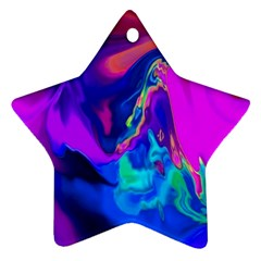 The Perfect Wave Pink Blue Red Cyan Star Ornament (two Sides)  by EDDArt