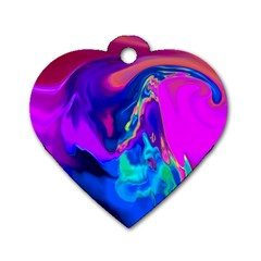 The Perfect Wave Pink Blue Red Cyan Dog Tag Heart (two Sides) by EDDArt