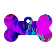The Perfect Wave Pink Blue Red Cyan Dog Tag Bone (two Sides) by EDDArt