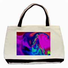 The Perfect Wave Pink Blue Red Cyan Basic Tote Bag (two Sides) by EDDArt