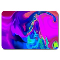 The Perfect Wave Pink Blue Red Cyan Large Doormat  by EDDArt