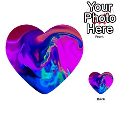 The Perfect Wave Pink Blue Red Cyan Multi Purpose Cards (heart)  by EDDArt