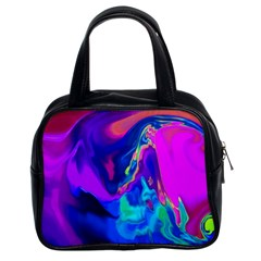 The Perfect Wave Pink Blue Red Cyan Classic Handbags (2 Sides) by EDDArt