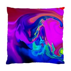 The Perfect Wave Pink Blue Red Cyan Standard Cushion Case (one Side) by EDDArt