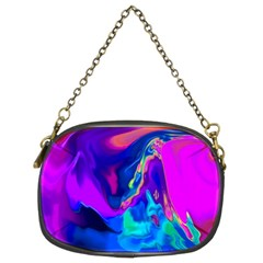 The Perfect Wave Pink Blue Red Cyan Chain Purses (two Sides)  by EDDArt