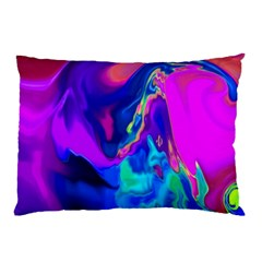 The Perfect Wave Pink Blue Red Cyan Pillow Case by EDDArt