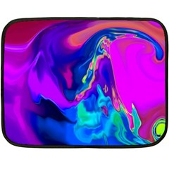 The Perfect Wave Pink Blue Red Cyan Fleece Blanket (mini) by EDDArt