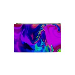 The Perfect Wave Pink Blue Red Cyan Cosmetic Bag (small)  by EDDArt