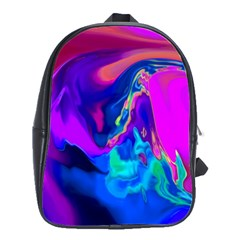 The Perfect Wave Pink Blue Red Cyan School Bags(large)  by EDDArt