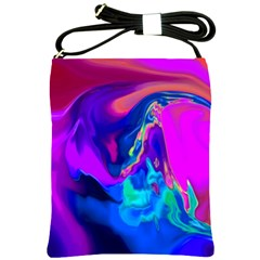 The Perfect Wave Pink Blue Red Cyan Shoulder Sling Bags by EDDArt
