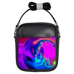The Perfect Wave Pink Blue Red Cyan Girls Sling Bags by EDDArt