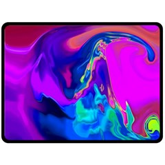 The Perfect Wave Pink Blue Red Cyan Fleece Blanket (large)  by EDDArt