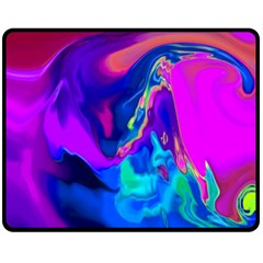 The Perfect Wave Pink Blue Red Cyan Fleece Blanket (medium)  by EDDArt