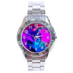 The Perfect Wave Pink Blue Red Cyan Stainless Steel Analogue Watch by EDDArt