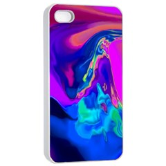 The Perfect Wave Pink Blue Red Cyan Apple Iphone 4/4s Seamless Case (white) by EDDArt