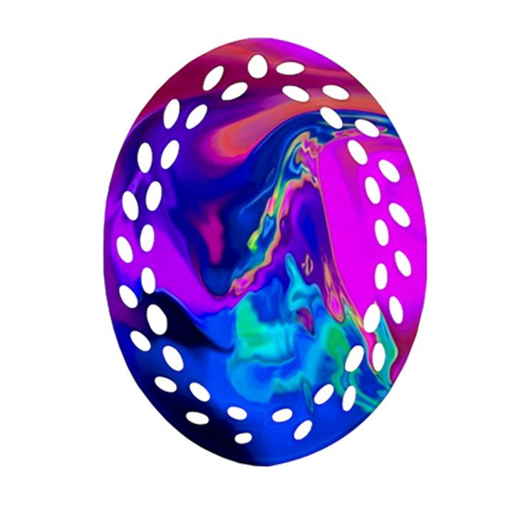 The Perfect Wave Pink Blue Red Cyan Ornament (Oval Filigree)